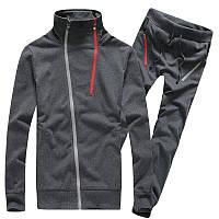 Теплый спортивный мужской костюм серого цвета