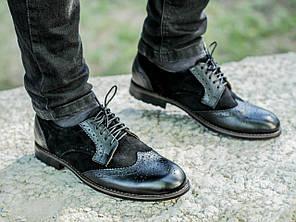 Мужские туфли Броги, Черные, Натуральная кожа/замша, Подкладка: кожа
