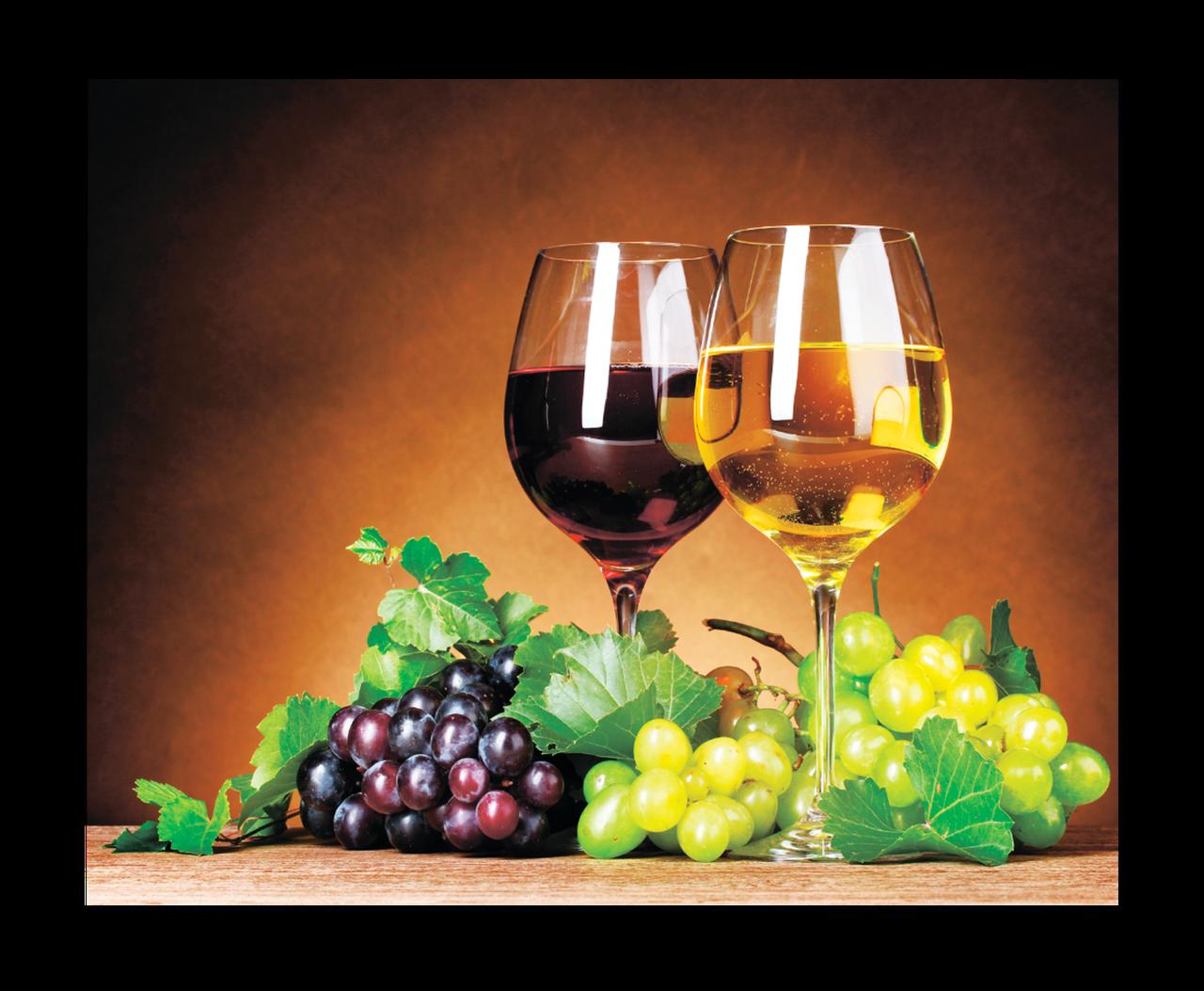 """Картина на стекле """"Белое и красное вино"""""""