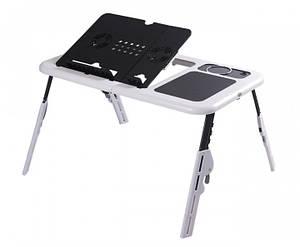 Подставка-столик для ноутбука E-Table с охлаждением Черно-белый (ET011)