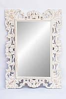 Дзеркало в дерев'яній рамі Ajur 100х70 см, біле