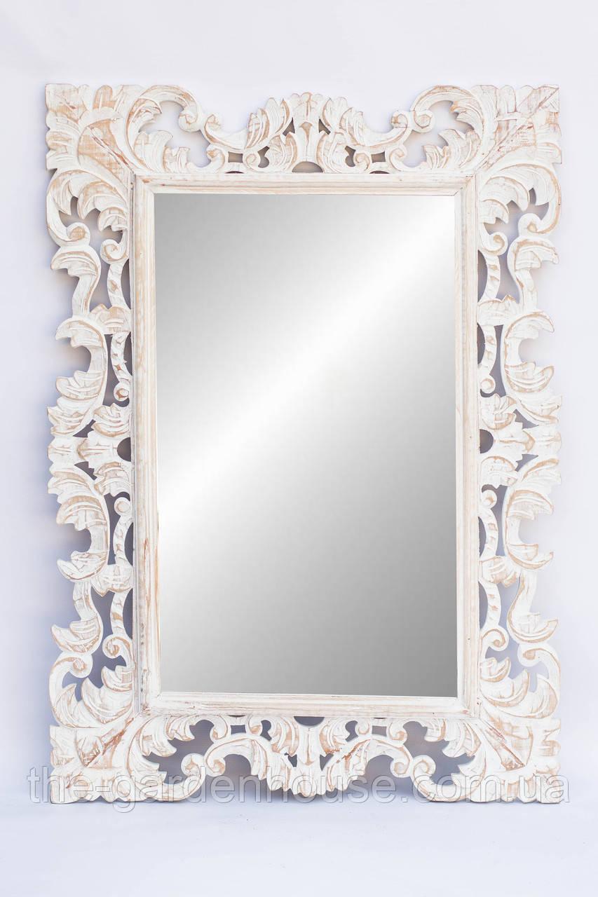 Зеркало в деревянной раме Ajur 100х70 см, белое