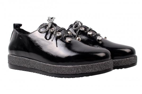 Туфли женские на платформе из натуральной лаковой кожи, черные Euromoda Турция
