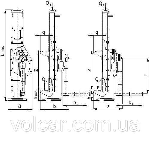 Реечный домкрат Brano 2.5 т 345 мм