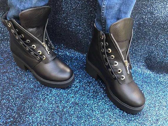 Жіночі черевики з натуральної шкіри зі шнурівкою і блискавкою 36-40 р, фото 2