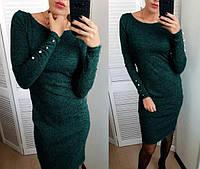 Ангоровое платье с пуговками на рукавах