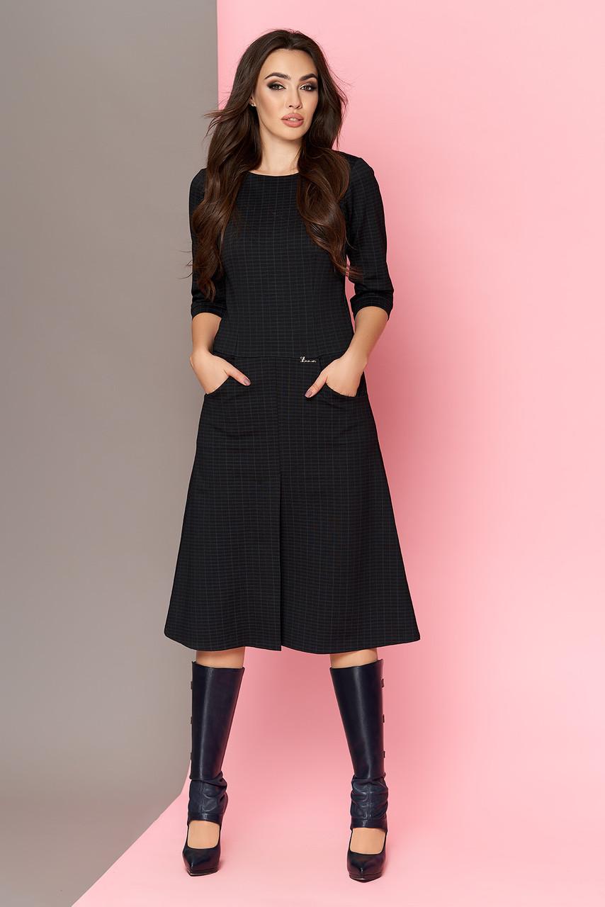 Теплое платье черное трикотажное