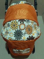 301 Кукольная коляска-трансформер 2в1 с переноской Adbor Mini Ring (оранжевый, цветы желтые на белом), фото 1