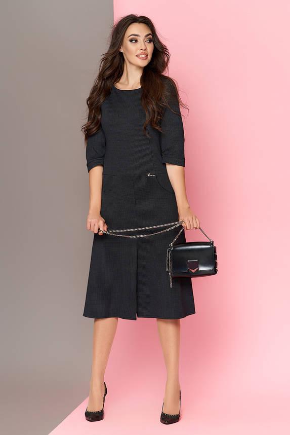 Теплое трикотажное платье черное приталенное, фото 2