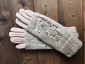 Женские зимние перчатки стрейч+вязка Сенсорные бордо, фото 3