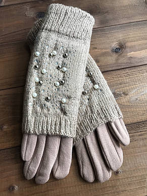 Женские зимние перчатки стрейч+вязка Сенсорные бордо, фото 2