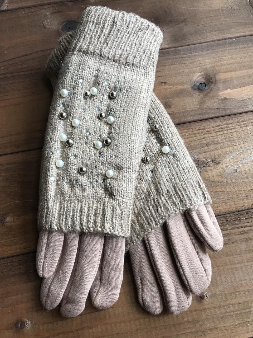 Женские зимние перчатки стрейч+вязка Сенсорные бордо