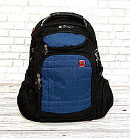 Вместительный рюкзак SwissGear Wenger, свисгир. Черный с синим. + Дождевик. 35L / s8855 blue
