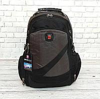 Вместительный рюкзак SwissGear Wenger, свисгир. Черный с серым. + Дождевик. 35L / s7650 grey