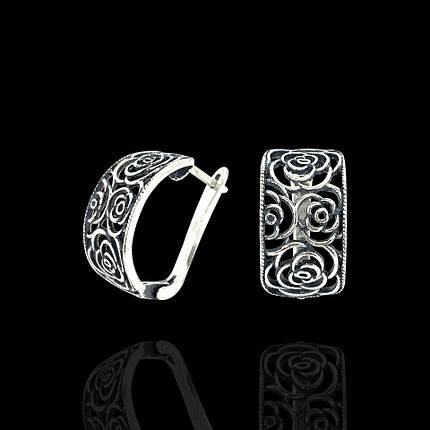 Серебряные серьги Розы, фото 2