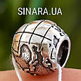 Серебряный шарм бусина  локер Пандора Глобус - Шарм Глобус Пандора серебро, фото 2