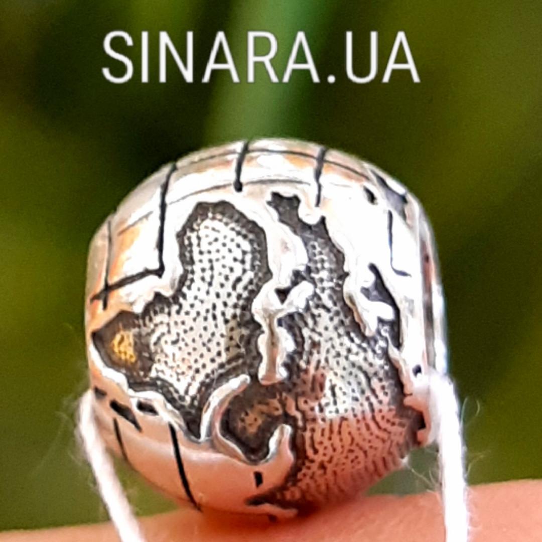 Серебряный шарм бусина  локер Пандора Глобус - Шарм Глобус Пандора серебро