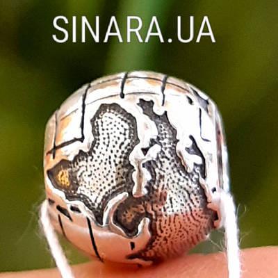 Срібний шарм намистина локер Пандора Глобус - Шарм Глобус Пандора срібло