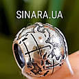 Серебряный шарм бусина  локер Пандора Глобус - Шарм Глобус Пандора серебро, фото 4