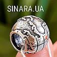 Серебряный шарм бусина  локер Пандора Глобус - Шарм Глобус Пандора серебро, фото 3