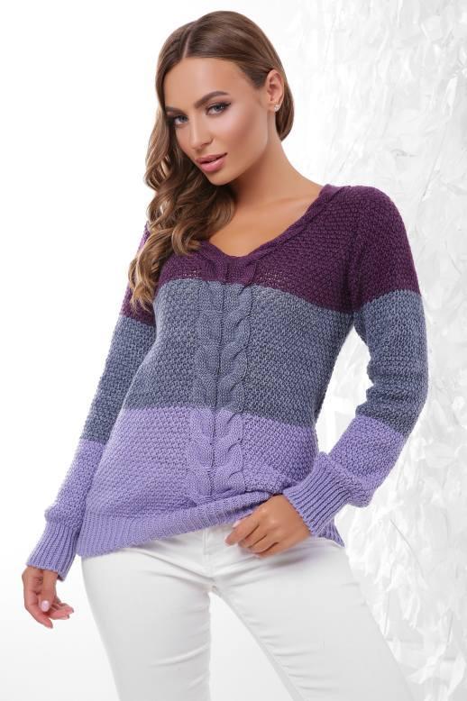 Джемпер Алисия фиолетовый-светлый джинс-фиалка(44-50)