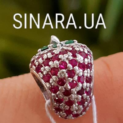 Срібний шарм Пандора Полуниця - Шарм Pandora Полуничка