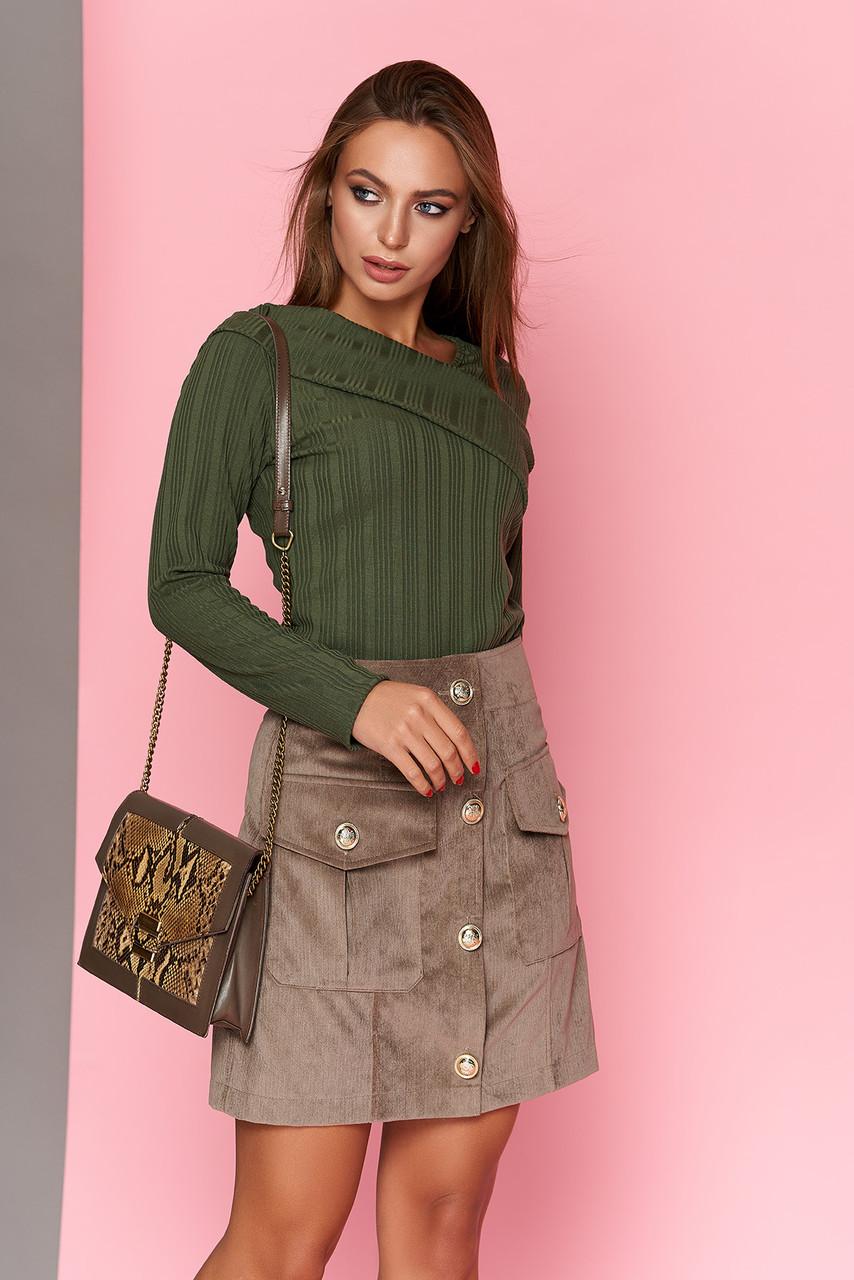 Мини юбка вельветовая на пуговицах с карманами