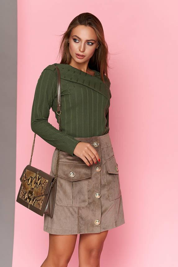 Мини юбка вельветовая на пуговицах с карманами, фото 2