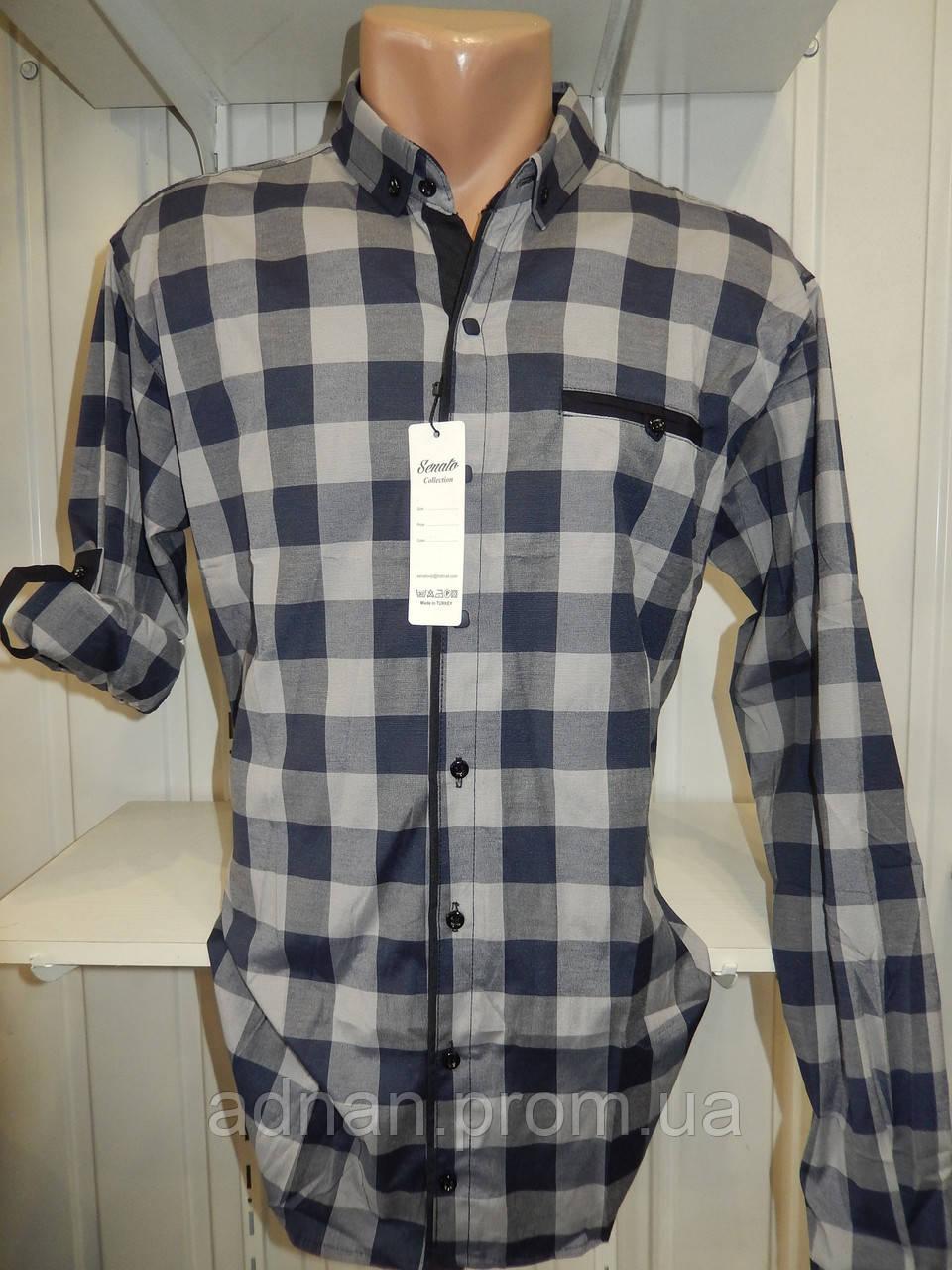Рубашка мужская CROM  крупная клетка, Полу-батал, стрейч, 3 заклепки 001 /купить только оптом