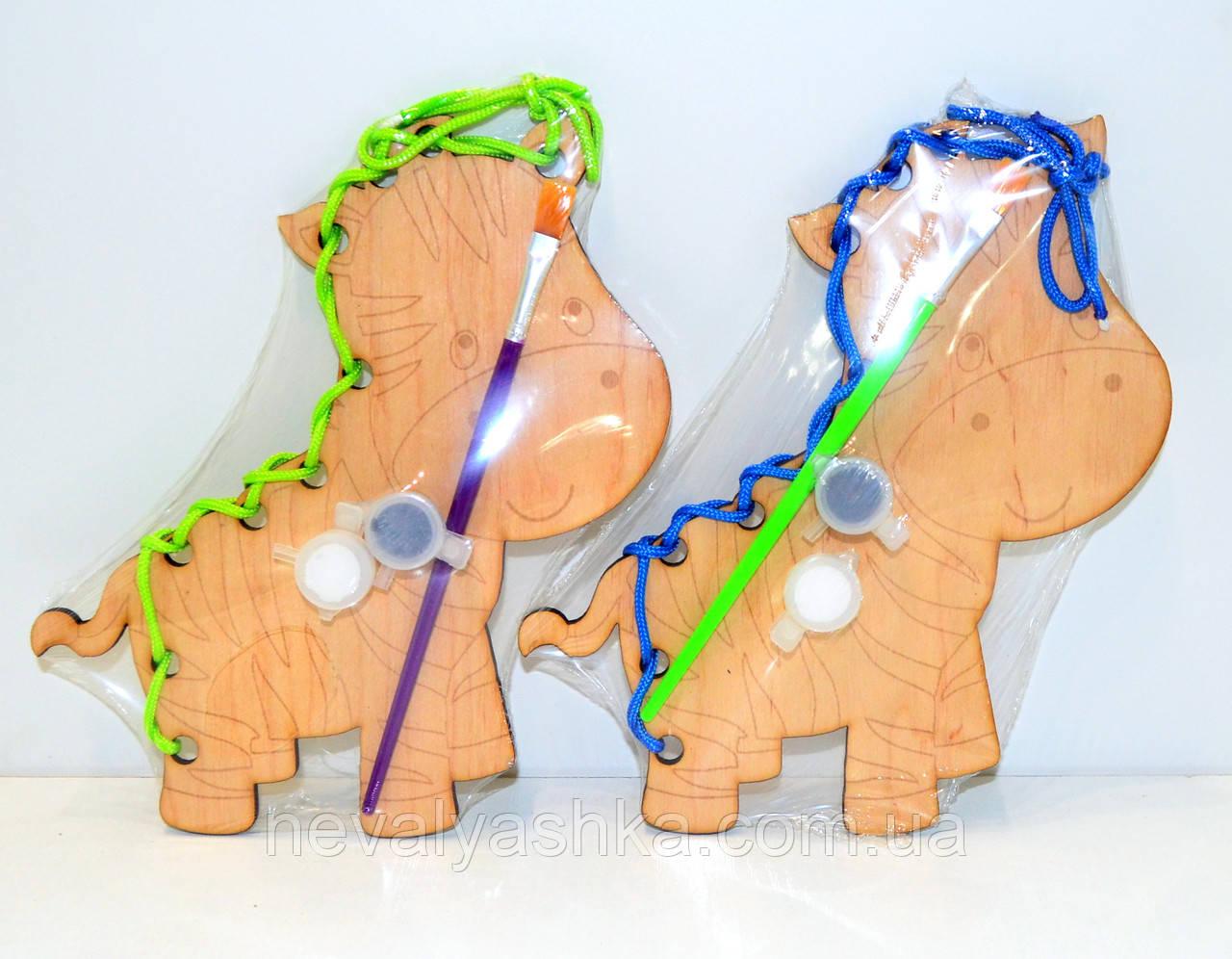 деревянная игрушка 2 в 1 раскраска шнуровка зебра краски кисточка разукрашка Hn02 009478