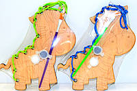 Деревянная игрушка 2 в 1 Раскраска + Шнуровка Зебра краски кисточка разукрашка, HN02 009478