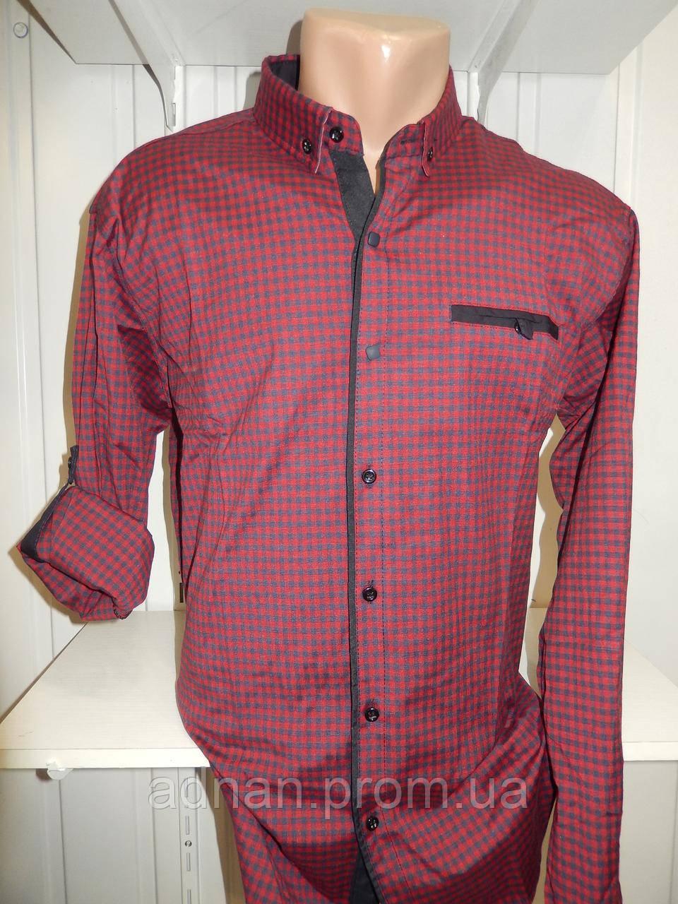 Рубашка мужская CROM клетка, Полу-батал, стрейч, 3 заклепки 005 /купить только оптом