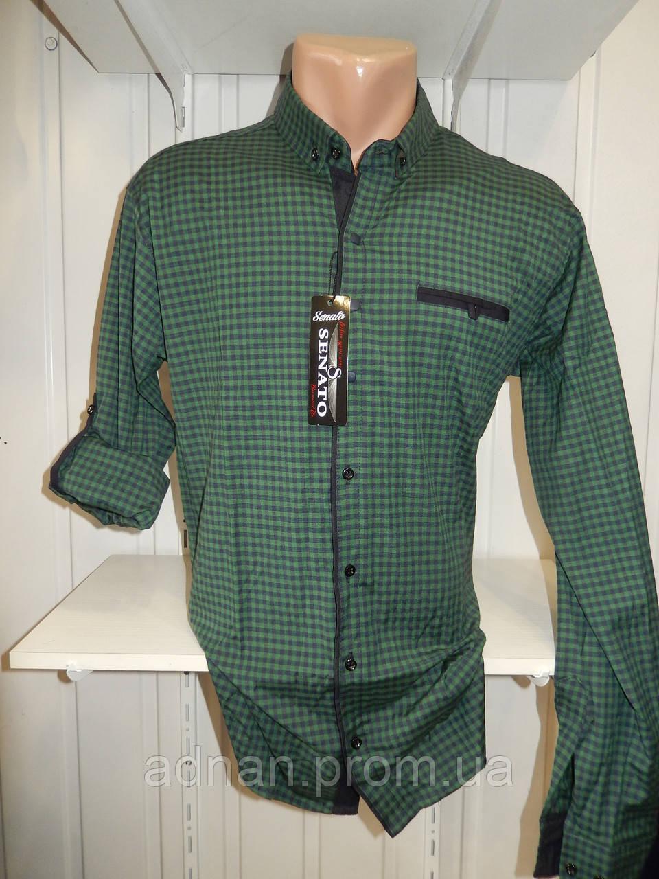 Рубашка мужская CROM клетка, Полу-батал, стрейч, 3 заклепки 006 /купить только оптом