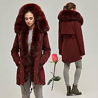 Зимнее женское пальто-парка   MN  П-7760  Марсала