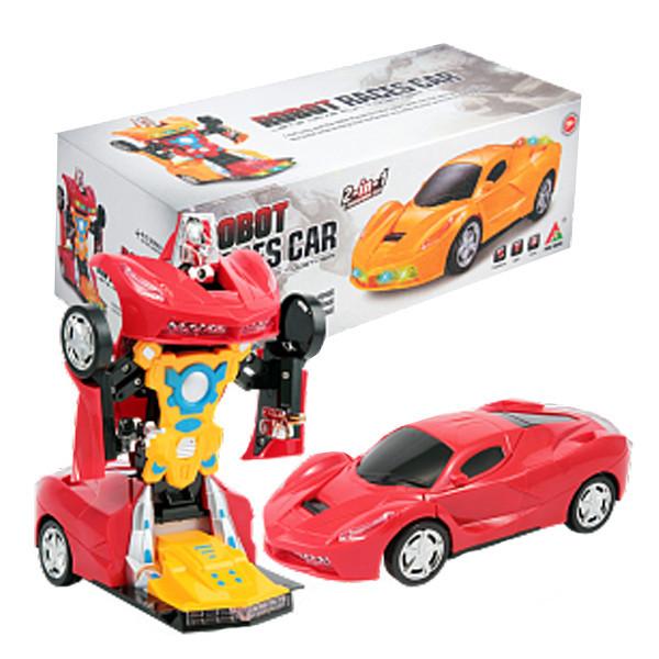Машинка трансформер 3D музыкальная светящаяся Robot Races Car