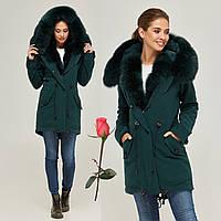Зимнее женское пальто-парка   MN  П-7760  Изумруд