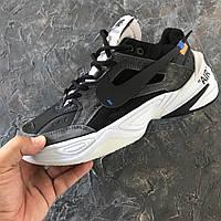 """Мужские кроссовки Nike M2K & """"Off White"""" black white. Живое фото. Топ реплика ААА+"""