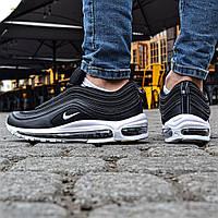 Мужские кроссовки Nike Air Max 97 Black White. Живое фото (Реплика ААА+)