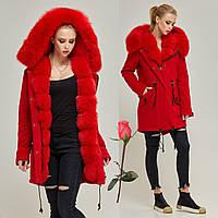 Зимнее женское пальто-парка   MN  П-7760  Красный