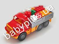 Машина Магирус бортовая №4 с конструктором беби-блок (4 цвета). Colorplast 1708