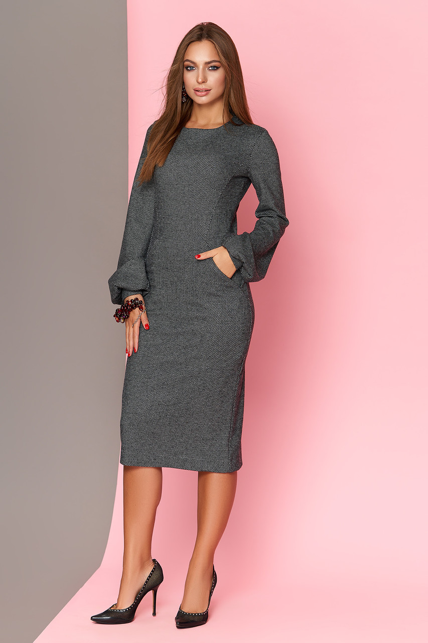 Теплое шерстяное платье 44-54р серое