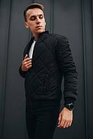 Бомбер мужской черный. Топ качество. Живое фото (весенняя куртка), фото 1