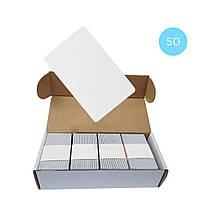 Набор 50 шт. Бесконтактная карта Tecsar Trek Mifare Classic 1K 0,8 мм белая , фото 1