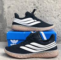 Мужские кроссовки Adidas Sobakov Black White. Живое фото. Топ реплика ААА+, фото 1