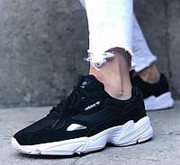 Кроссовки Adidas Yung falcon black white. Живое фото (Топ реплика ААА+), фото 1