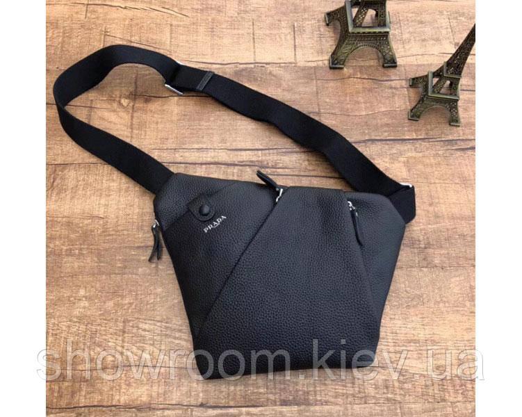 Мужская сумка на грудь (слинг) в стиле Prada 018 black Deluxe