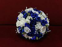 Свадебный букет-дублер молочный (айвори) с синим
