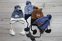 Акриловая шапка ( на флисе) для мальчиков. 4- 8 лет.