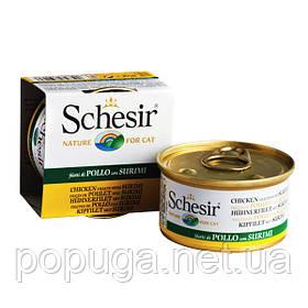 Schesir Chicken Surimi консерви для кішок, філе курки з сурімі в желе, банку 85 г