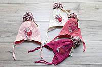 Акриловая шапка ( на флисе) для девочек. 0- 18 месяцев.
